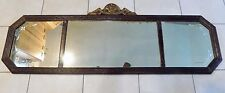 "Antique Buffet Mirror  50 x 18""  Etched on Ends 3 Section  Nice  Wood Sideboard"