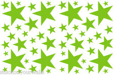 52 LIME GREEN STARS VINYL BEDROOM WALL DECALS STICKERS TEEN GIRLS DORM ROOM