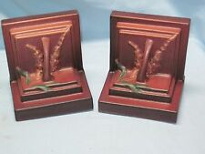 Beautiful Art Deco Roseville Art Pottery Matte Mauve FOXGLOVE  BOOKENDS #10 SGN