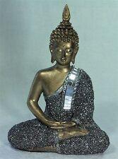 Thai Buddha Golden Meditating w Silver Glitter & Mirror Mosaic Robe 23300BUD - A