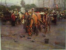 """Richard Schmid """"Carriages in Front of The Plaza Hotel"""" S/N Limited Edition"""