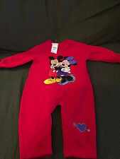 NEW YOUTH DISNEY STORE RED MICKEY & MINNIE MOUSE ONESY OUTFIT SIZE 3 MONTHS!
