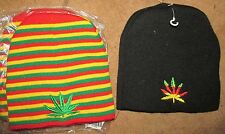 BN CANNABIS LEAF BEANIE COLOUR CHOICE Hat Woolly Ski- goth dope biker rasta