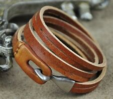 P01 Men's Cool Double Band Multi Wrap Leather Wristband Bracelet OrangeBrown