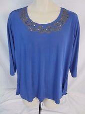 Carolyn Strauss Pull Over 3/4 Sleeve Blue Stretch Top Shirt Women's Medium  DD55
