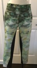 NEW Tsumori Chisato Green Watercolor Lily Pad Slim Leg Pants Size 2