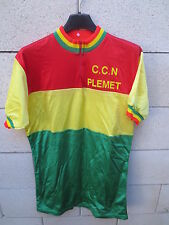 VINTAGE Maillot cycliste C.C.N PLEMET couleur RASTA REGGAE nylon made in France