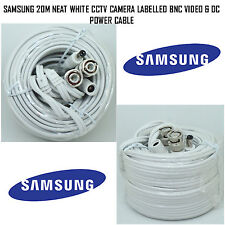 SAMSUNG 20M NEAT WHITE CCTV CAMERA LABELLED BNC VIDEO & DC POWER CABLE