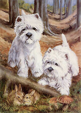 "WEST HIGHLAND WHITE WESTIE DOGS ART LIMITED EDITION PRINT - ""In the Beech Wood"""