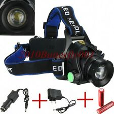 3000LM CREE XML T6 LED Zoomable Headlamp Headlight Head Torch + 2x 18650 Charger