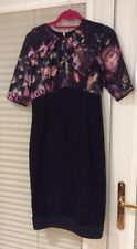 TED BAKER Black Dress Floral Silk Top 1/2 Sleeve Back Zip Detail Size 3 12
