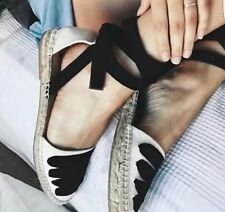 ZARA Monochrome Black Nude Lace Up Espadrilles Shoes Sandals UK 8 Euro 41