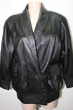 MANTEAU EN CUIR NOIR 40 L VESTE COAT LEATHER MOTO / 1