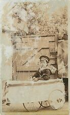 "1905-20 Real Photo PC; Young Boy in Sailor Suit, Pedal Car ""Boat"" with Mast, UK"