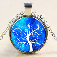 VintageTree of Life Cabochon Tibetan silver Glass Chain Pendant Necklace xn14