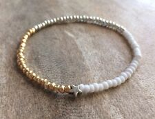 Gold Silver & White Seed Beaded Surfer Style Bracelet Star Charm Stretchy Boho