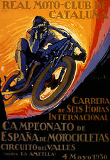 MOTORCYCLE GRAND PRIX BIKE 1930 RACE CATALUNA SPAIN VINTAGE POSTER REPRO LARGE