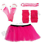 NEON PINK TUTU SKIRT LONG GLOVES LEGWARMERS BEADS NECKLACE 80S COSTUME LOT