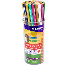 Pot of 48 Lyra Groove Slim Colouring Drawing Pencils School Office Kids Artists