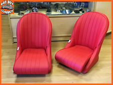 Pair BB Vintage Classic Retro Car Bucket Seats Low Rounded Back RED UNIVERSAL