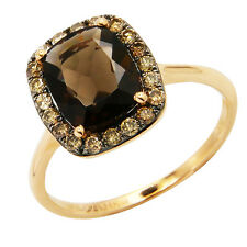 14K YELLOW GOLD BROWN CHAMPAGNE DIAMOND SMOKY TOPAZ COCKTAIL HALO RING