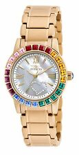 Invicta Women's Angel Crystal Acc Mother-of-Pearl Heart Dial Gold Tone SS Watch