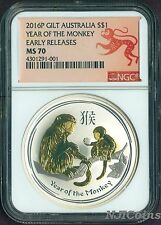 2016 P Australia GILDED Silver Lunar Year of the Monkey NGC MS70 1 oz Coin GILT
