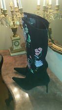 CASADEI Black Suede With Embroidery, High Heels Women's Boots, Size 8,5B