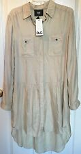 NWT D&G Dolce & Gabbana US 6 Ivory Silk/Cotton Long Sleeve Shirt Dress IT 42