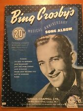 BING CROSBY - 20th musical anniversary song album VINTAGE SHEET MUSIC