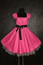 40s 50s ROCKABILLY SWING DRESS Plus Size 12 14 16 Pink Black Pin Up Retro Prom