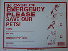 "In Case of Emergency Please Save Our Pets Plastic Sign 12"" x 9"" #12640 new"