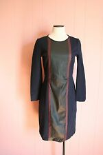 JCrew Petite Leather Panel Dress 6P 6 Navy Two-Tone 3/4 Sleeve NWT