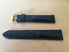 New - Black Leather Strap 20 mm PAMIES COLLECTORS Piel Negra Cocodrilo