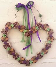 Wooden Button hanging Heart. BUTTERFLY FLOWER PATCHWORK SAGE & PURPLE HANDMADE.