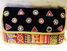 Multi Coloured Black Handbag Clutch Wallet Bollywood Indian Sari Purse Art Silk