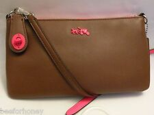 NWT Coach 52968 C.O.A.C.H. Herald Crossbody in Calf Leather Saddle Neon Pink