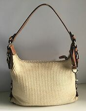 Fossil Cloth Handbag Cream/Tan Medium Designer Purse Satchel Handbag