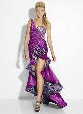 New RIVA Designs R9635 Purple Print Multi High-Low Homecoming Prom Dress Size 6