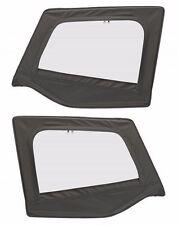 1988-1995 Jeep Wrangler Soft Top Front Upper Door Windows Skins Black Denim Pair