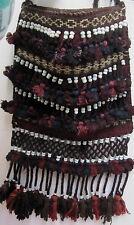 Vintage Camel Salt Sack Bag Handwoven Turkish Travel Red Blue Glass Beads Fringe