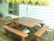 "60"" x 60"" Redwood Picnic Table with (4) 60"" Benches."