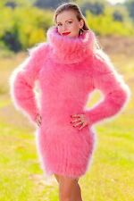 SUPERTANYA Rose Pink Hand Knitted Sweater Fuzzy Turtleneck Fluffy Mohair Dress