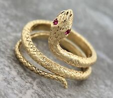 Ladies Vintage 14K 585 Yellow Gold Pink Topaz Eye Textured Coil Snake Band Ring