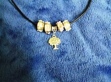 """Murano Glass Beads & Tibetan Silver Tree of Life Pendant on 18"""" Leather Necklace"""