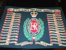 KINGS OWN ROYAL BORDER REGIMENT BATTLE HONOURS A4 PRINT ON CANVAS EFFECT CARD