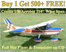 "Cessna 150 Aerobat 114"" WS Giant Scale RC Airplane Plans & Templates on CD"