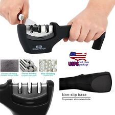 US STOCK ! 3 Stage Diamond Ceramic Knife Sharpener System Kitchen Steel Knives