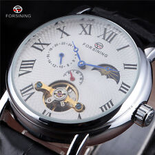 Moon Phase Mens Automatic Mechanical Wrist Watch Tourbillon Silver Steel Date