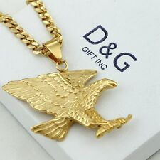 """DG Mens 24"""" Stainless Steel-Gold.EAGLE,Pendant,Cuban Curb Chain Necklace~Box"""